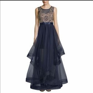 City Triangles Navy and Gold Prom Dress